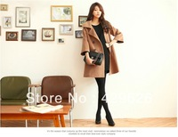 New Women's Popular Woolen Trench Coat Lady Fashion Celebrity Double-breasted 3/4 sleeve Winter Jacket 0288