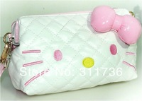 HOT CUTE HELLO KITTY COSMETIC BAG MAKEUP CASE WRISTLET CLUTCH PURSE