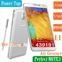 "QuadCore Galaxy Note3 1:1 5.7"" Retina Sceen 2G Ram MTK6589 8MP camera Russian Spainish Hebrew Air gesture N9000 mobile phone"