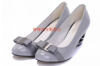 Fashion spring and autumn sheep candy color japanned leather shallow mouth high single shoes wedges sweet genuine leather