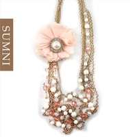 Sweet Fresh Pink Rhinestones Flower Pendant Multi-layers Gold Chain Sweater Necklace Best Choice For New Year Gift