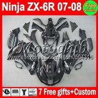 7gifts Body For Gloss black KAWASAKI NINJA ZX6R 07 08 ZX-636 ZX-6R 10MC104 HOT ZX 6R 07 08 HOT ALL Black 2007 2008 ZX636 Fairing