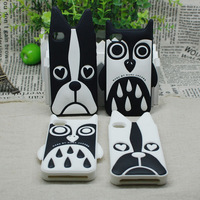 100pcs/lot New arrival Marc Creatures Silicone Gel Rubber Case for iPhone 5 5g 5s Owl Cat Dog Zebra case free shipping