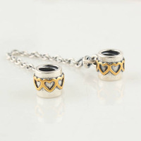 charm bead beads 925  Sterling Silver 925 ALE Silver Safety Clip Chain Fits European Style Bracelet , Free Shipping SF015