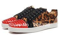 2013 Brand Red Bottom Men Rivets Spike Flat Sneakers Dress Party leopard Shoes Golden Black Big Size36-46 Wholesale FreeShipping
