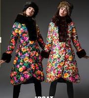 Stunning!!!2014 Designer Brand Fashion Rex Rabbit Hair Hooded Floral Down Coats Long Warm Fashion Down Parkas Outwear F15163
