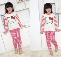 Adorable girl cotton pajamas/2-piece set: hello kitty top+ dots pants/Autumn comfortable design