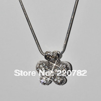 Top Quality Silver Plated Cute Austria Crystal Butterfly Pendant Necklace Free Shipping