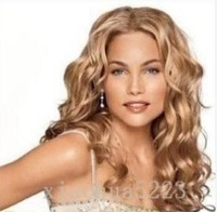 Free Shipping wholesale Synthetic hair!Junoesque women's long brown/blonde curly wig wigs color Fashion