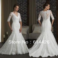 Custom Made v-neck sexy lace mermaid wedding dresses bridal dress with 1/2 sleeve Free Shipping AL4985