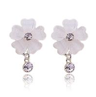Free shipping No pierced earrings elegant crystal flower u earrings cushiest earrings 0013