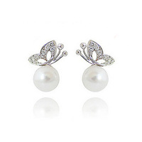Free shipping newest Olay butterfly earrings pearl drop earrings