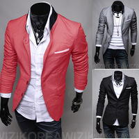 M-XXL Fashion Silm Fit Stylish Mens Suit V Neck One Button Blazer Suit Business Coat Jacket