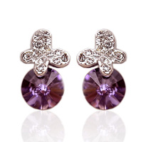 Accessories gentle diamond butterfly amethyst no pierced cushiest earrings stud earring female earrings 0178