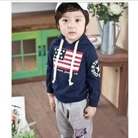 Free shipping,2013NEW(2colors)5pieces/lot, children Long sleeve,set,children T-shirt set,90-130,The United States flag