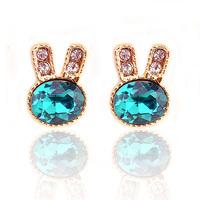 Free shipping Accessories green crystal rabbit no pierced cushiest earrings stud earring female earrings 0313