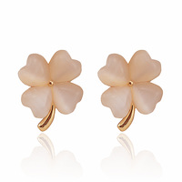 Free shipping Eye - four leaf grass no pierced earrings u shaped clip stud earring female accessories 0015