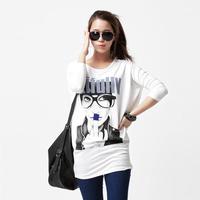 Spring and autumn brief batwing sleeve female long-sleeve T-shirt modal cotton print elastic slim hip t-shirt