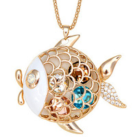 Free shipping Accessories flash gold fish decoration long necklace female accessories long design 1129