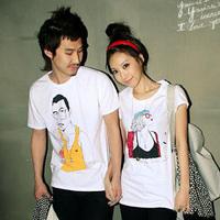 Summer lovers cartoon print cotton short-sleeve 100% T-shirt male Women plus size t-shirt