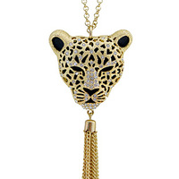 Free shipping Accessories leopard head decoration tassel long necklace female accessories long design crystal fashion