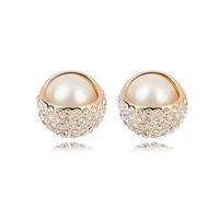 Free shipping Suki stud earring female fashion elegant crystal pearl elegant earrings ol vintage accessories gift