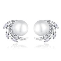 Free shipping Suki stud earring female fashion glass shell pearl zircon elegant flower accessories