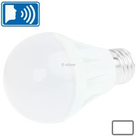 E27 7W Sound Control Light Control White LED Bulb Light AC 220V