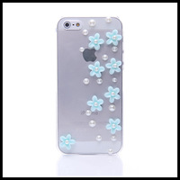 Fashion resin flower case for iphone 5 5s   transparent  cases for  iphone 4 4s free ship moblie phone