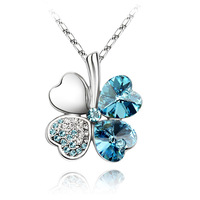 Suki austria crystal necklace lucky four leaf clover female short design chain accessories