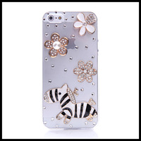 Diamond white and blcak  wooden horse  case for iphone 5 5s  transparent  cases for  iphone 4 4s  moblie phone free ship