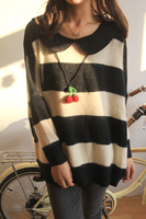 31040 peter pan collar rabbit fur ultra soft black and white bold stripe batwing sleeve sweater