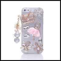 Diamond pink ballet  case for iphone 5 5s   sachet  cases for  iphone 4 4s flower moblie phone free ship