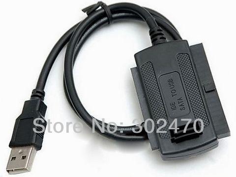"[FREE SHIPPING/EPACKET!] USB 2.0 to SATA IDE Cable ATA Converter Adapter for Hard Drive 2.5"" 3.5"" DVD CDR(China (Mainland))"