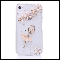 Fashion ballet girl diamond  case for iphone 4 4s  Transparent  cases for  iphone 5 5s moblie phone  shell free ship