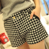 Puls Size 2013 New Fashion Womens Plover wool Shorts Casual Plaid Short pants For Women Ladies Free Shipping XXL