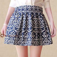 2013 Autumn & Winter Women's Geometric diamond pattern Cotton Jigh waist pleated skirts pop A-line Skirts for Ladies free shippi