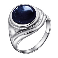 Free shipping Natural Sapphire Ring Mens Sterling Silver Men's Ring luxury domineering temperament blue sapphire ring