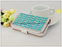 Candy colors luxurious rectangular diamonds wallet leather case with dirt-resistant for iphone 5 5G~10pcs/lot