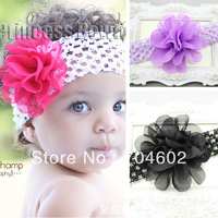 Hot Sale 1Piece Baby Girls Solid Color 4'' Chiffon Flowers With Elastic Crochet Hair Band Children Accessories Headbands FD205