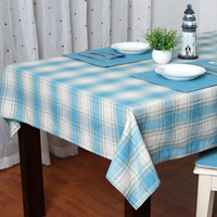 Oriental traditional cloth Mediterranean Wallpaper Blue plaid cotton tablecloth Coffee table cloth Hotel / Restaurant / Home