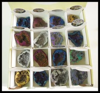 HOT FEDEX US Free Ship 32PCS (1Box) Rock & Mineral Display Specimen Cut & Polished Titanium Colorful Agate /Quartz Druzy Geodes