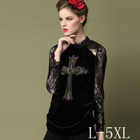 Plus size L-5XL, Fashion Brand Lace High collar Bottoming shirt Crosses Rhinestone pattern Lace gauze Long sleeve Tops women