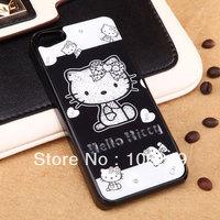 For iphone 5 5S case hello kitty swarovski design fashion style free shipping