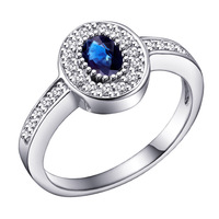 Free shipping genuine sterling silver jewelry SR0054S natural sapphire ring European and American fashion blue sapphire ring