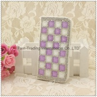 The square diamonds long wallet dirt-resistant leather case for iphone 4 4S~10pcs/lot