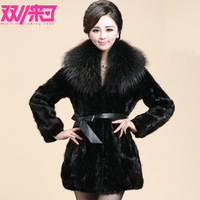 Free shipping 2013 mink overcoat Women mink fur coat mink hair large fur collar