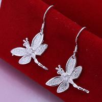 High Quality 925 Silver Dragonfly Earrings Animals Rhinestone Drops Earring Girls Jewelry