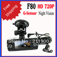 Free Shipping F80 720P HD Recorder 3 Lens Camera Motion Detection Night Vision Car DVR with HDMI and G-sensor