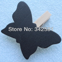 Free Shipping 100pcs/lot Top Quality Butterfly Blackboard Peg Wooden CHALKBOARD For Wedding/Party Wood Craft Gift Decoration
